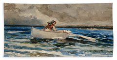 Rowing At Prouts Neck Beach Towel