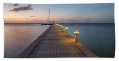 Beach Sheet featuring the photograph Rum Point Pier At Sunset by Adam Romanowicz
