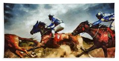 Beach Towel featuring the painting Running Horses Competition Jockeys In Horse Race by Dimitar Hristov