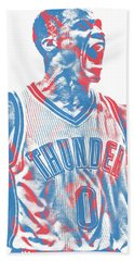Russell Westbrook Oklahoma City Thunder Pixel Art 31 Beach Towel