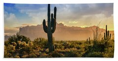 Beach Towel featuring the photograph Saguaro Sunrise In The Superstitions  by Saija Lehtonen