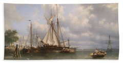 Sailing Ships In The Harbor Beach Towel by Anthonie Waldorp