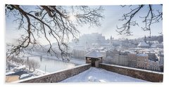 Salzburg Winter Dreams Beach Towel by JR Photography