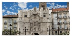 Santa Maria Arch - Old City Entry - Burgos Spain Beach Sheet by Jon Berghoff