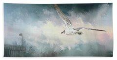 Seagull In Flight Beach Towel by Sennie Pierson