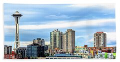Seattle Skyline Hdr Beach Towel