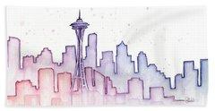 Seattle Skyline Watercolor Beach Towel