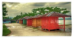Beach Towel featuring the photograph Shacks by Charuhas Images