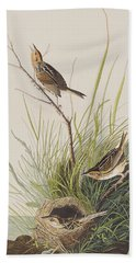 Sharp Tailed Finch Beach Towel by John James Audubon