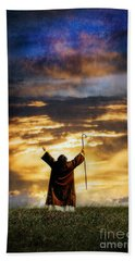 Shepherd Arms Up In Praise Beach Towel by Jill Battaglia