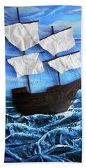 Beach Towel featuring the mixed media Ship by Angela Stout