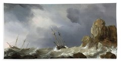 Ships In A Gale Beach Towel
