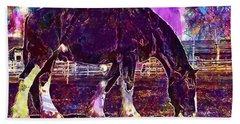 Beach Sheet featuring the digital art Shire Horse Horse Coupling  by PixBreak Art