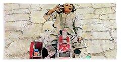 Shoeshine Girl - Nile River, Egypt Beach Towel