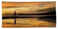 Silhouette In Sunset Beach Sheet