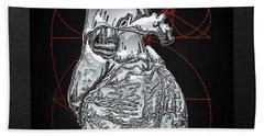 Silver Human Heart On Black Canvas Beach Towel