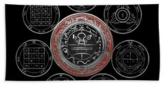 Silver Seal Of Solomon Over Seven Pentacles Of Saturn On Black Canvas  Beach Towel