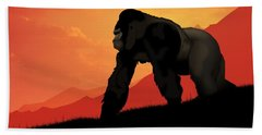 Beach Towel featuring the digital art Silverback Gorilla by John Wills