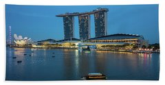 Singapore Harbour Beach Towel by Jocelyn Kahawai