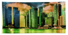 Singapore Skyline Beach Towel
