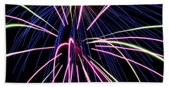 Sister Bay Fireworks Beach Towel