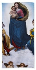 Beach Towel featuring the painting Sistine Madonna by Judy Kirouac