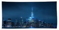 Skyline At Night Beach Towel