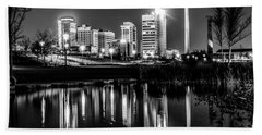 Skyline Of Birmingham Alabama From Railroad Park Beach Towel by Alex Grichenko