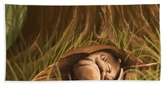 Beach Towel featuring the painting Sleeping  by Veronica Minozzi