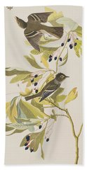 Small Green Crested Flycatcher Beach Sheet by John James Audubon
