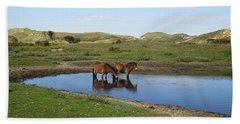 Small Lake With Wild Horses Beach Sheet
