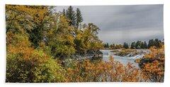 Snake River Greenbelt Walk In Autumn Beach Sheet by Yeates Photography
