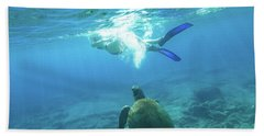 Snorkeler Female Sea Turtle Beach Towel