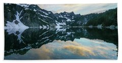 Snow Lake Chair Peak Dusk Reflection Beach Towel by Mike Reid