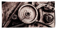 Soviet Ussr Combine Harvester Abstract Cogs In Monochrome Beach Towel