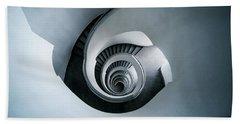 Spiral Staircase In Blue Tones Beach Sheet by Jaroslaw Blaminsky