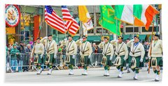 St. Patrick Day Parade In New York Beach Sheet