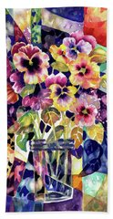 Stained Glass Pansies Beach Towel