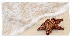 Starfish And Ocean Wave Beach Towel