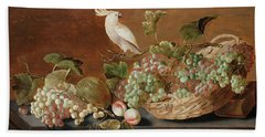 Still Life With Parrot  Beach Towel
