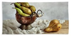 Still-life With Pears Beach Sheet by Nailia Schwarz
