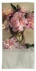 Still Life With Pink Peonies Beach Sheet