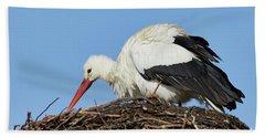 Stork On A Nest Beach Sheet
