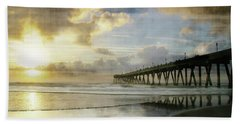 Stormy Sunrise At Johnnie Mercer's Pier Beach Sheet by Phil Mancuso