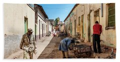 Street In Central Market Area Of Asmara City Eritrea Beach Towel