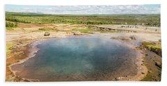 Strokkur Geyser In Iceland Beach Sheet