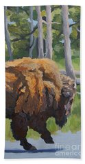 Beach Sheet featuring the painting Strutting Along, Yellowstone by Erin Fickert-Rowland
