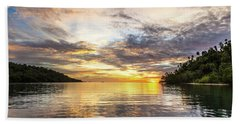 Stunning Sunset In The Togian Islands In Sulawesi Beach Sheet