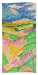 Beach Towel featuring the pastel Summer Fields  by Norma Duch