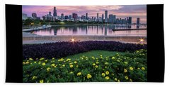 summer flowers and Chicago skyline Beach Towel
